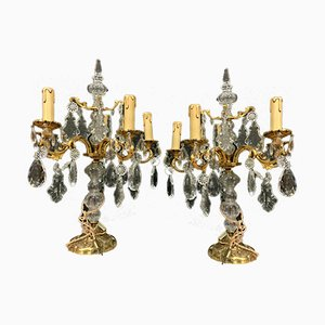 Antique Bronze and Crystal Table Lamps, Set of 2