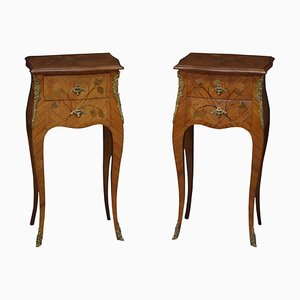 French Bedside Cabinets in Kingwood, 1930s, Set of 2