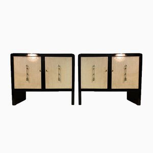 Italian Art Deco Parchment and Brass Sideboards, 1940s, Set of 2