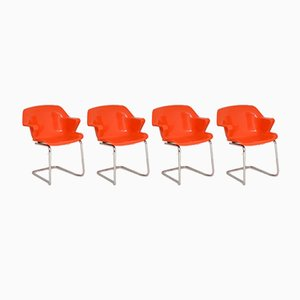 Retro Steelux Dining Chairs by Robert Heritage, 1960s, Set of 4