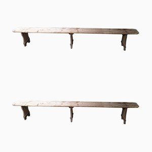 Antique Rustic Benches, Set of 2
