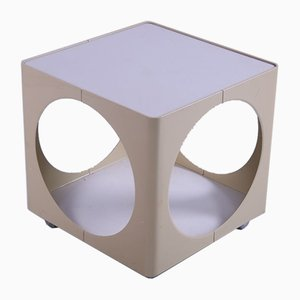 Space Age Cube White Side Or Coffee Table On Wheels, 1970s