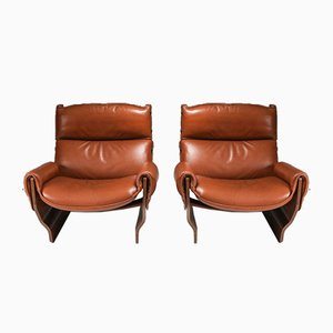 Model P110 Canada Lounge Chairs in Cognac Leather by Osvaldo Borsani, 1960s, Set of 2