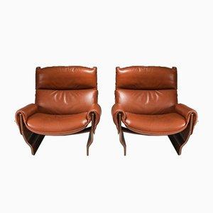 Modell P110 Canada Sessel aus cognacfarbenem Leder von Osvaldo Borsani, 1960er, 2er Set