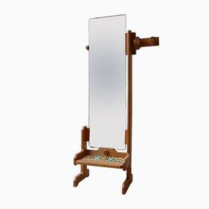 Oak Dressing Mirror by Guillerme et Chambron, 1960s