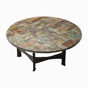 Round Slate Mosaic Coffee Table by Pia Manu, 1970s