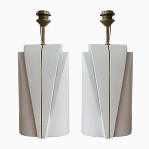 Ceramic Double Bulb Table Lamps, 1980s, Set of 2