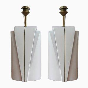 Lampade da tavolo a doppia lampadina in ceramica, anni '80, set di 2
