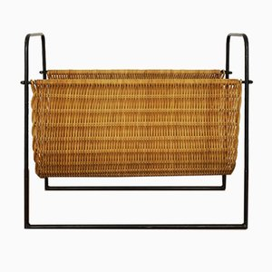 Wicker Magazine Rack, 1950s
