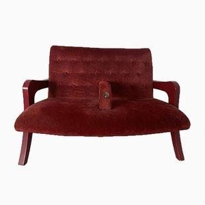 Canapé Deux Places en Velours Rouge Vintage