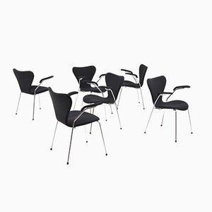 Modell 3207 Armlehnstühle von Arne Jacobsen für Fritz Hansen, 6er Set