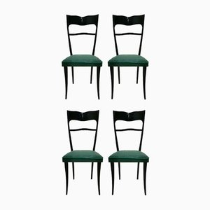 Italian Wooden Dining Chairs, 1960s, Set of 4