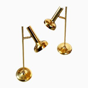Large Brass Trumpet Table Lamps by Solken Leuchten, 1970s, Set of 2