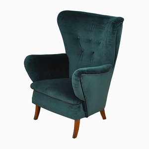 Velvet Wingback Armchair, 1950s