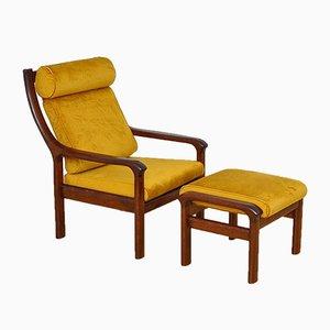 Armlehnstuhl & Fußhocker aus Eiche von Holstebro Mobelfabrik A / S, 1960er, 2er Set