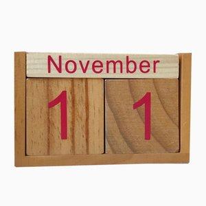 Vintage Wooden Block Eternity Calendar, 1970s