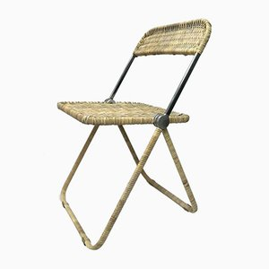 Rattan Plia Folding Chair by Giancarlo Piretti for Castelli / Anonima Castelli, 1980s