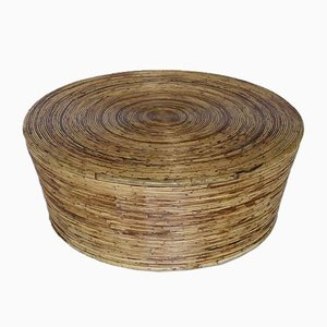 Round Bamboo Coffee Table, 1970s