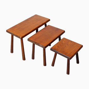 Oak Nesting Side Tables in the Style of Charlotte Perriand, 1950s, Set of 3
