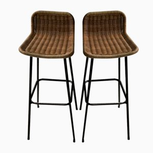 Rattan Bar Stools by Dirk van Sliedregt for Rohé Noordwolde, Set of 2
