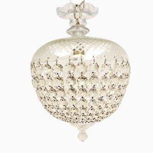 Geschnitzte Glas Deckenlampe, 1930er