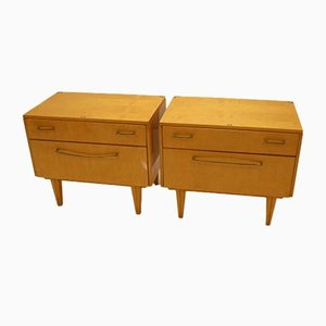 Bedside Tables With Drawers and Flap, 1950s, Set of 2