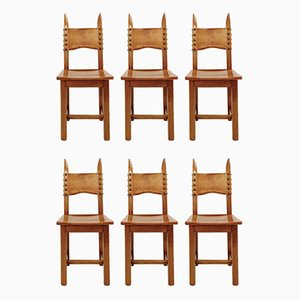Wooden and Leather Chairs, 1970s, Set of 6
