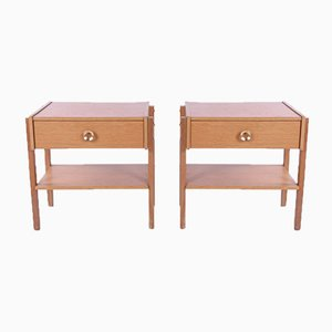 Swedish Bedside Tables With Drawer and Brass Handle, 1960s, Set of 2