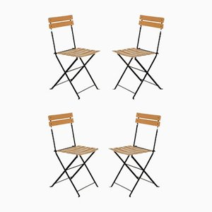 Leather Folding Chairs, 1980s, Set of 4
