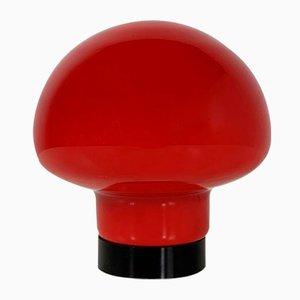 Red Mushroom Glass Table Lamp, 1970s