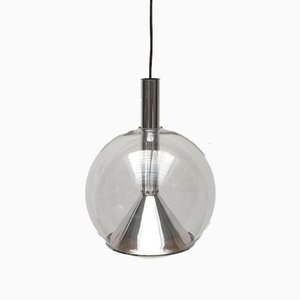 German Space Age Glass Globe Pendant Lamp from Erco