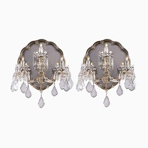 Crystal Sconces with Mirror, 1950s, Set of 2
