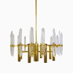 Brass and Glass Chandelier from Sciolari Italy, 1970s