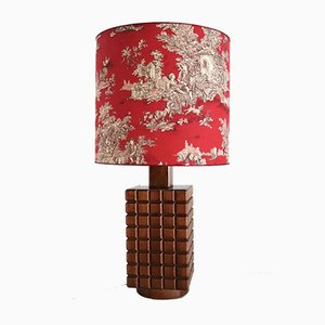 Chestnut Wooden Table Lamp from De Coene, 1960s