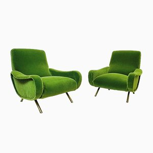 Green Velvet Lady Armchairs by Marco Zanuso for Arflex, 1951, Italy, Set of 2