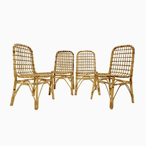 Rattan Chairs, 1970s, Set of 4
