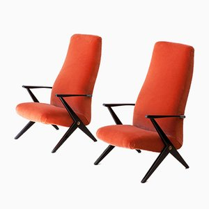 Italian Rust Color Velvet Lounge Chairs, 1950s, Set of 2
