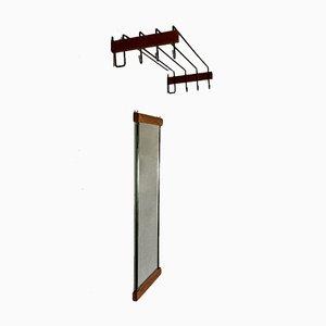 Scandinavian Design Coat Rack and Mirror, 1950s, Set of 2