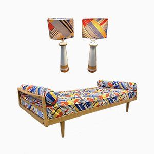 Sofa / Daybed and Matching Lamps, 1950s, Set of 3