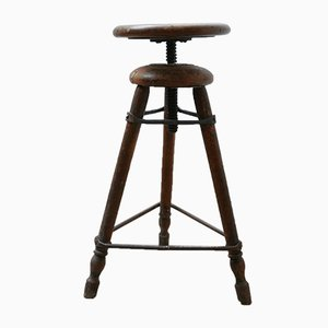 Antique French Wooden Adjustable Stool