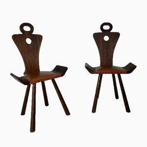 Vintage Brutalist 3-Legged Side Chairs, 1940s, Set of 2