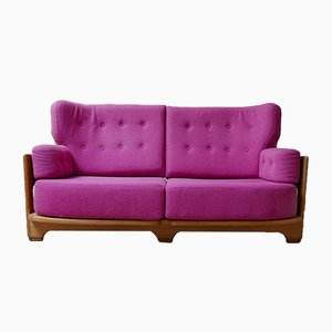 Oak Sofa by Guillerme et Chambron, 1960s