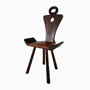 Brutalistischer Vintage Beistellstuhl mit Drei Beinen, 1940er