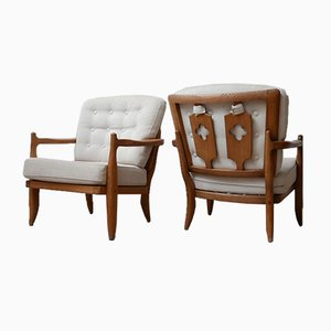 Oak Armchairs by Guillerme et Chambron, 1960s, Set of 2