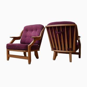 Eichenholz Armlehnstühle von Guillerme et Chambron, 1960er, 2er Set