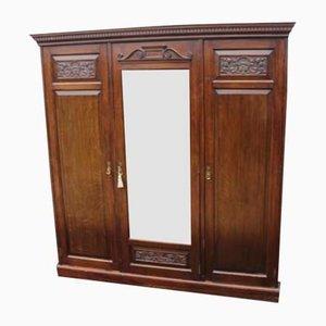 Large Oak 3 Door Mirrored Wardrobe, 1920s