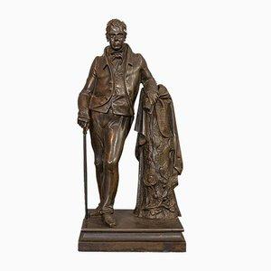 Antique Victorian Figure Sir Walter Scott in Bronze, 1880