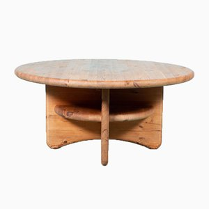 Vintage Danish Round Pine Coffee Table, 1970s