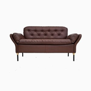 Danish Brown Leather Sofa, 1970s