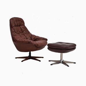 Swivel Armchair and Stool by H. W. Klein for Bramin, 1970s, Set of 2
